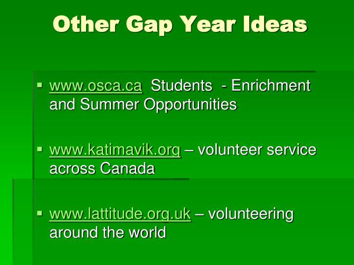 Other Gap Year Ideas