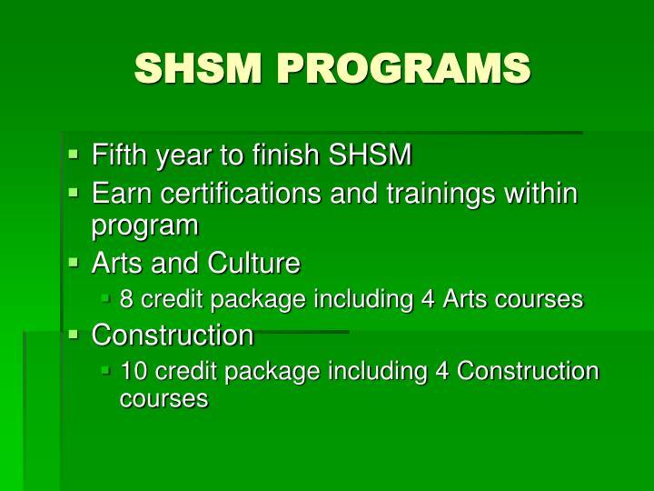 SHSM PROGRAMS