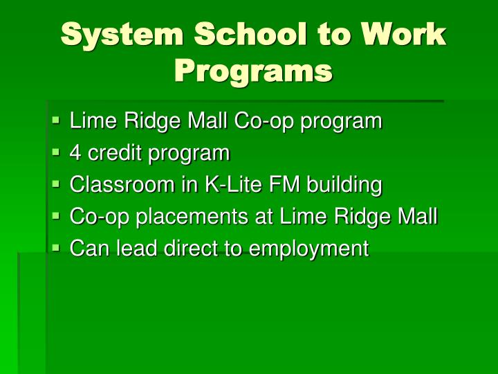 System School to Work Programs