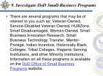 9 investigate dod small business programs
