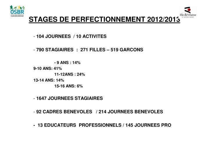 stages de perfectionnement 2012 2013 n.
