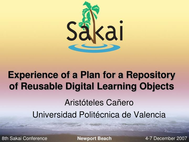experience of a plan for a repository of reusable digital learning objects n.