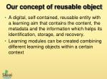 our concept of reusable object