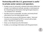 partnership with the u s government is useful to private sector owners and operators