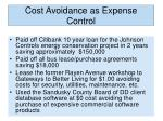 cost avoidance as expense control