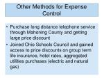 other methods for expense control