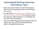automatically booting up the disc the autorun tool