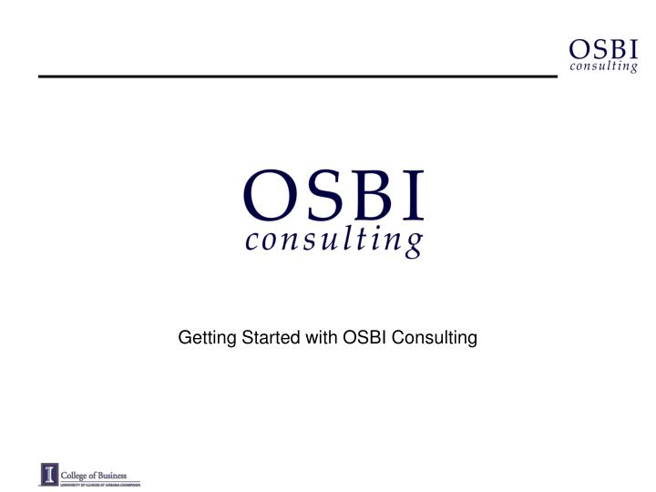 getting started with osbi consulting n.