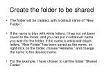 create the folder to be shared