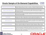 oracle sample of on demand capabilities