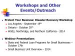 workshops and other events outreach