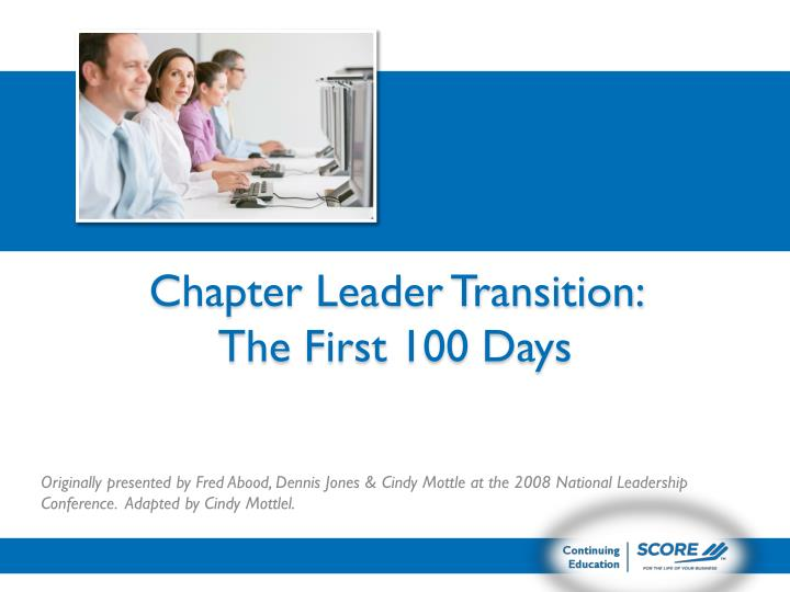 chapter leader transition the first 100 days n.