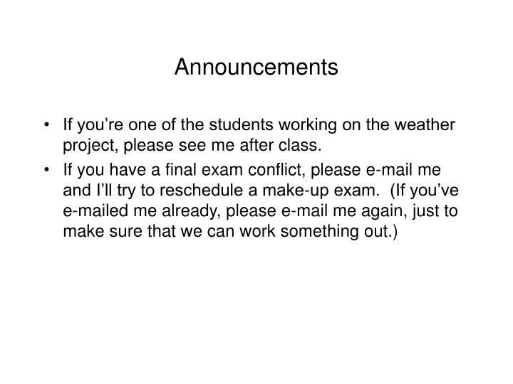 announcements n.