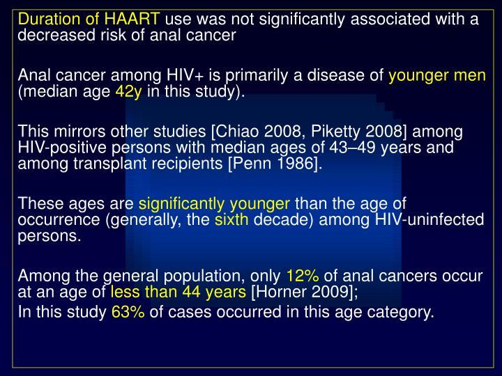 Duration of HAART