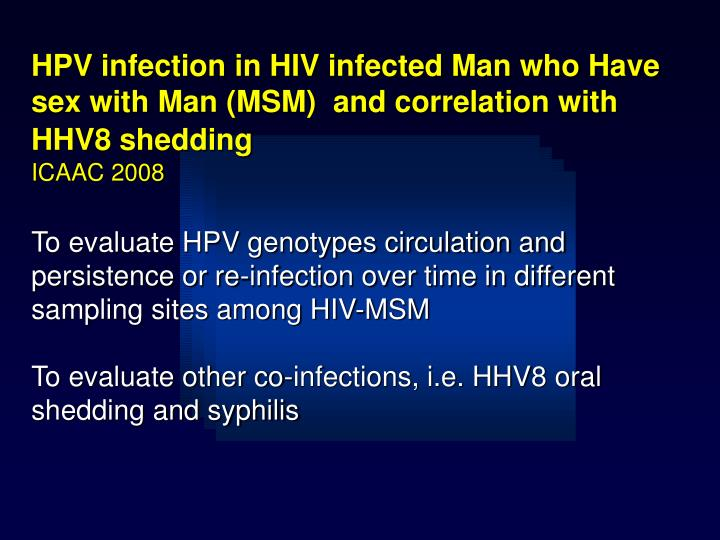 HPV infection in HIV infected Man who Have sex with Man (MSM)  and correlation with HHV8 shedding