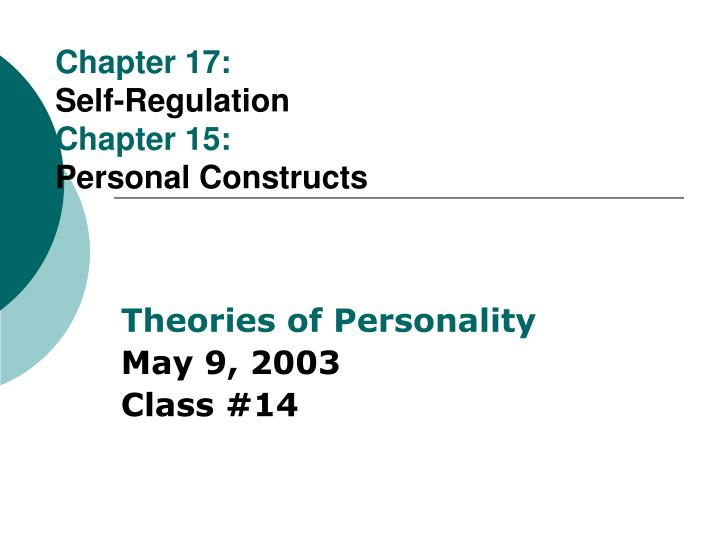 chapter 17 self regulation chapter 15 personal constructs n.
