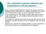 our construct systems influence our expectations and perceptions