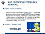 how to identify opportunities within dod