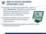 how to locate a business opportunity cont