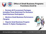 office of small business programs functions cont d