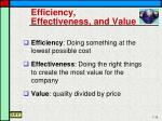 efficiency effectiveness and value