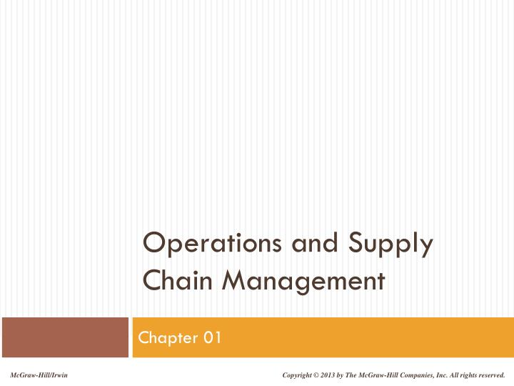 operations and supply chain management n.