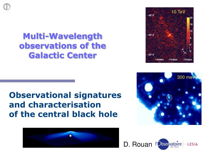 multi wavelength observations of the galactic center n.