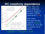 wc metallicity dependence