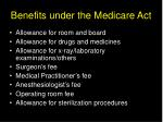 benefits under the medicare act