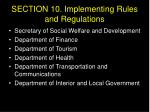 section 10 implementing rules and regulations