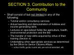 section 3 contribution to the community