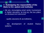1 redesigning the responsibility of the state to h e system and institutes4