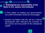 1 redesigning the responsibility of the state to h e system and institutes6