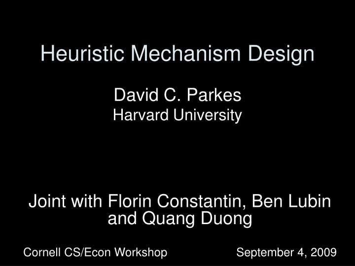 heuristic mechanism design n.