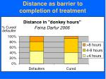 distance as barrier to completion of treatment
