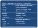 developing effective advocacy messages