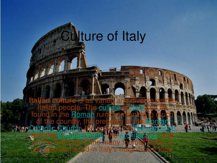 culture of italy n.