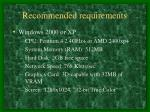 recommended requirements