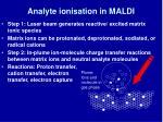 analyte ionisation in maldi
