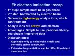 ei electron ionisation recap