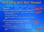 des idea rc2 rc5 rijndael