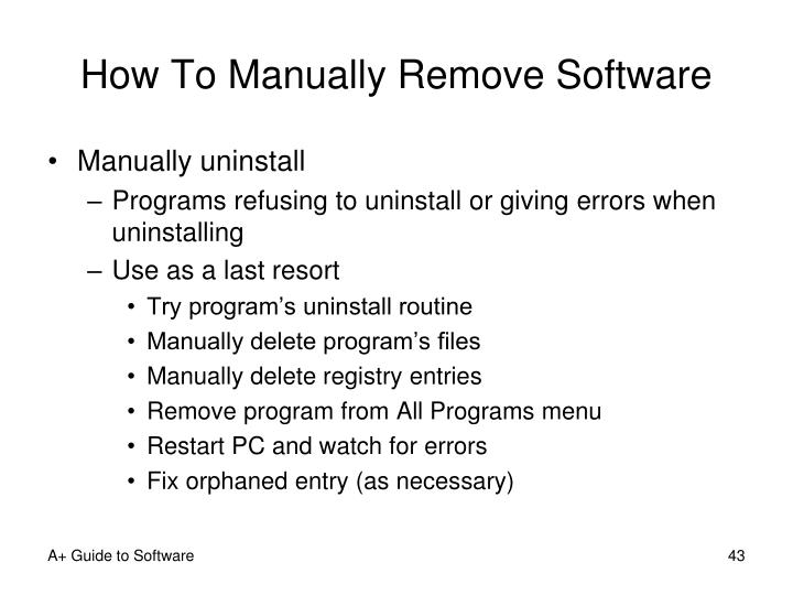 How To Manually Remove Software