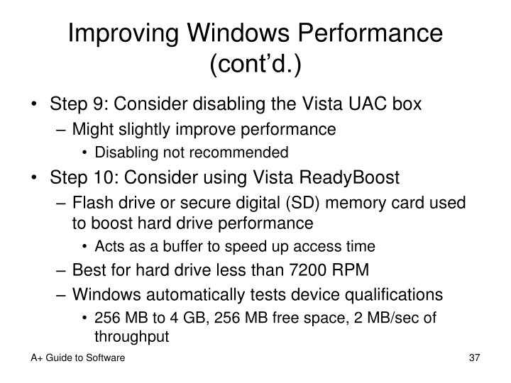 Improving Windows Performance (cont'd.)