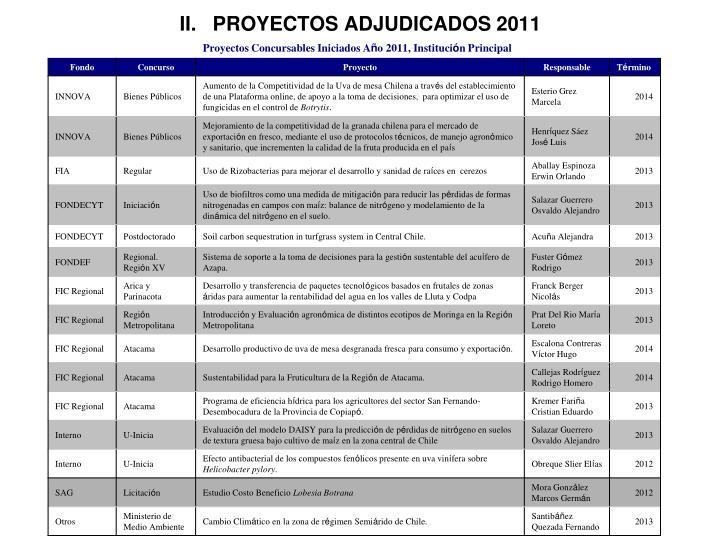 II.   PROYECTOS ADJUDICADOS 2011