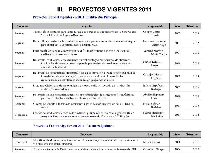 III.   PROYECTOS VIGENTES 2011