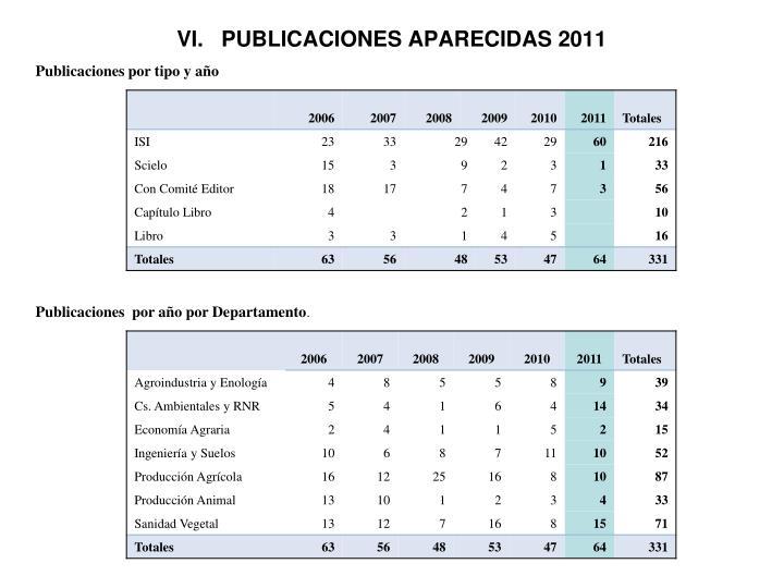 VI.   PUBLICACIONES APARECIDAS 2011