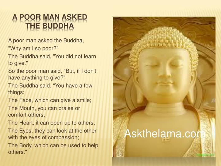 a poor man asked the buddha n.