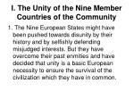 i the unity of the nine member countries of the community
