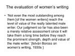 the evaluation of women s writing