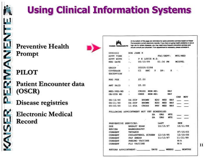 Using Clinical Information Systems